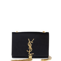 Monogram Small Suede Tassel Crossbody Bag, Black - Saint Laurent