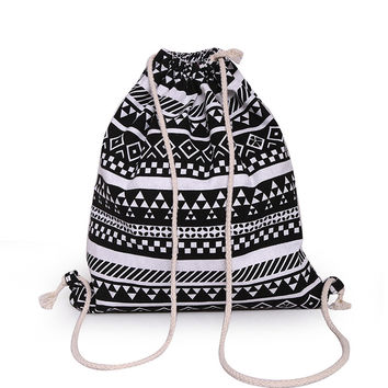 Canvas Drawstring Backpack Newest Vintage College Students School Bagpack Travel Camping Hiking Climbing Sports Bag Hot Sale