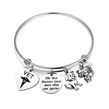 bobauna Veterinarian Bracelet Stainless Steel Medical Caduceus Cat Dog Charms Adjustable Wire Bangle Bracelet Vet Tech Jewelry