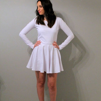 Long sleeves White skater dress, white circle dress, skater dress, white dress, black skater dress, dress.