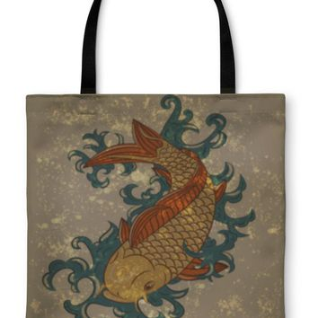Tote Bag, Japanese Koi Carp Fish On Grungy