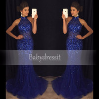 Halter Sleeveless Mermaid Prom Dress for Girl Tulle Off the Shoulder Sparkly Crystal Sheer High Quality Royal Blue Prom Dresses