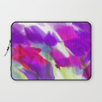 Meadow Flowers Abstract 2 Laptop Sleeve by Jen Warmuth Art And Design