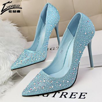 2017 Women High Heels Pumps Rhinestones Wedding Shoes Woman Pumps Pointed Toe Shoes Woman Heel Sapato