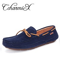 Men's Faux Suede Leather Men Dress Moccasins Driving Shoes Male Social Shoes Men Blue Lace Up Casual Shoe