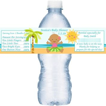 21 Lual Baby Shower Water Bottle Labels Dark Skin Girl