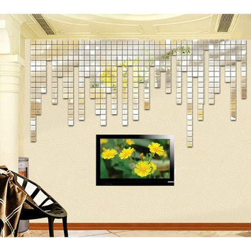 100pcs 3D Wall Sticker Mosaic Mirror Living  TV Room Decoration New Hot  D_L = 1712809860
