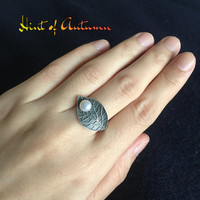 Fresh Water Pearl Ring, sterling silver ring. leaf ring. adjustable ring. open ring. statement ring. bridesmaid, June birthday gift