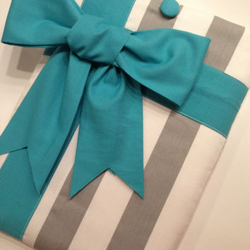 """Macbook Pro 13 Sleeve MAC Macbook Air / Pro 13"""" inch Laptop Computer Cover Case Grey Stripe Teal Gift Bow"""