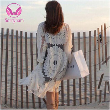 Sexy Lace 2017 Bikini Beach Tunic Crochet Beach Cover Up Bathing Suit Plus Size White Robe De Plage Swimsuit Women Cover-Ups