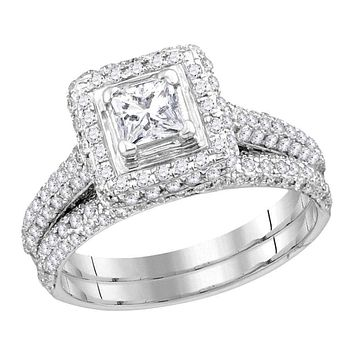 14kt White Gold Women's Princess Diamond Halo Bridal Wedding Engagement Ring Band Set 1-1/4 Cttw - FREE Shipping (US/CAN)