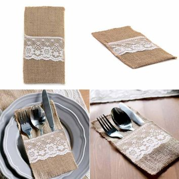 100pcs Burlap Lace Cutlery Pouch wedding Tableware Party decoration holder Bag Hessian Rustic Jute 11cm x 21cm