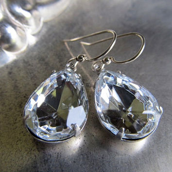 1920s Earrings Wedding Earrings Bridal Earrings Sterling Earrings Crystal Clear Earrings Teardrop Earrings Pear Earrings- Crystal Diamonds