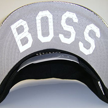 Boss Adjustable OSFA Flat Bill Snapback Baseball Hat Cap Black/Metallic Silver