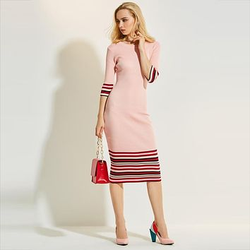 Young17 Autumn Dress Women 2017 Pink Stripe Color Block Knitted Bodycon Patchwork O-Neck Mid-Calf Dress Women Bodycon Dress