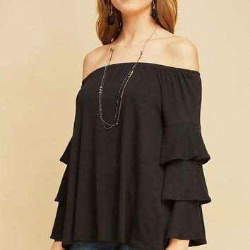 Off the Shoulder top with Tiered Bell Sleeves - Black