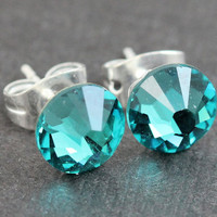 Swarovski Stud Earrings : Teal, Blue Zircon Swarovski Crystal Stud Earrings, Sterling Silver Plated Earring Posts, Birthstone, December