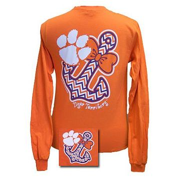 SALE South Carolina Clemson Tigers Anchor Bow Girlie Bright Long Sleeves T Shirt