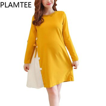 Adjustable Maternity Dresses Patchwork Contrast Color Pregnancy Clothes  Thick Long Sleeves Dress For Pregnant Women