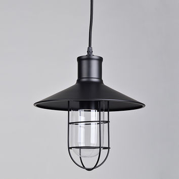 Industrial Barn Pendant Lighting, Matte Black