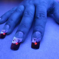 BioLumiNails - Purple/Red Black Widow - halloween, glow in the dark, fake nails, gift for teens, halloween, unique