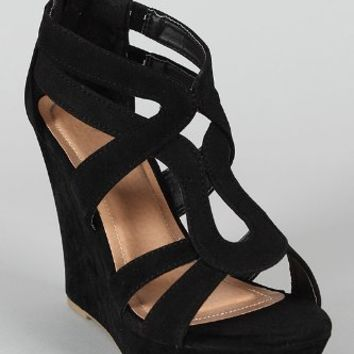 Lindy 66 Strappy Open Toe Platform Wedge,Lindy-66 Black 9