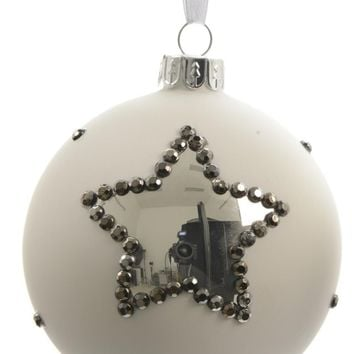 """Set of 3 Winter Light White with Silver Stars Glass Christmas Ball Ornaments 3"""" (80mm)"""