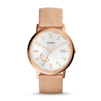 Vintage Muse Three-Hand Day/Date Leather Watch - Bone