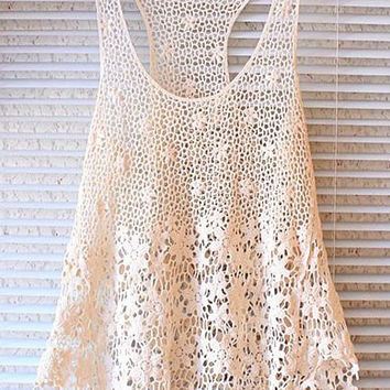 Off White Sleeveless Cut Out Sweet Lace Tank Top