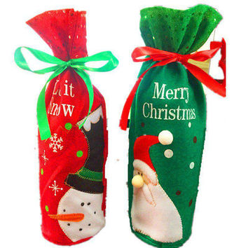 1pc Christmas Wine Bottle Bag Party Decoration Bow-Knot Snowman Christmas Trees Santa Claus Bottle Cover Bag Xmas Gift Holders