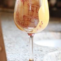 Marauder's Map Inspired Harry Potter Hand Painted Wine Glass