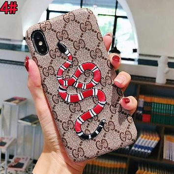 GUCCI Trending Stylish Heart Snake Embroidery Mobile Phone Cover Case For iphone 6 6s 6plus 6s-plus 7 7plus 8 8plus X XsMax