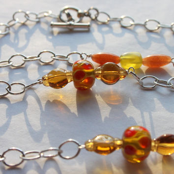 New Pretty Hand Made In the USA Sterling Silver Chain & Murano Glass Bead Long Necklace Oranges Ambers Green