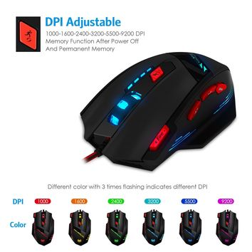 AMIR Gaming Mouse, USB Wired Optical Gaming Mice with 9200 DPI High Precision, 6 Adjustable DPI 1000-9200 + 8 Adjustable Weights + 6 Changing LED + 8 Buttons for Laptop/ PC/ MacBook/ Computer