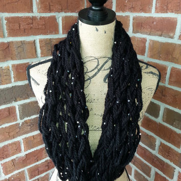 Black sequins Arm knitted scarf, neutral scarf, knit cowl, Bulky arm knit scarf, sparkly infinity scarf, fashion scarf