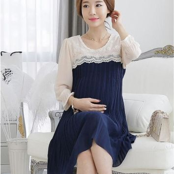 DCCKIX3 2014 New Summer Plus Size XL Elegant 3D Embroidered Lace/Chiffon Maternity Casual Dress Pregnant Clothes/Wear to Pregnancy Women = 1946071300