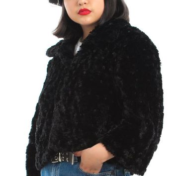Vintage 90's Faux Fur Midnight Crop Jacket - One Size Fits Many