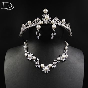 DODO Luxury Queen Jewelry Sets Simulated Pearl & AAA Zircon Tiara Necklace Earrings Sets White Gold Color Wedding Bijoux D15358