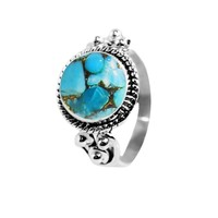 Divya 10mm Blue Copper Turquoise 925 Sterling Silver Ring