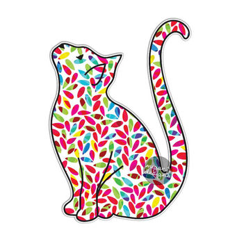 Cat Sticker Colorful Leaves Car Decal Laptop Decal Bumper Sticker Hippie Boho Cute Car Decal Pet Animal Kitten Kitty Wall Decal Girly Gift