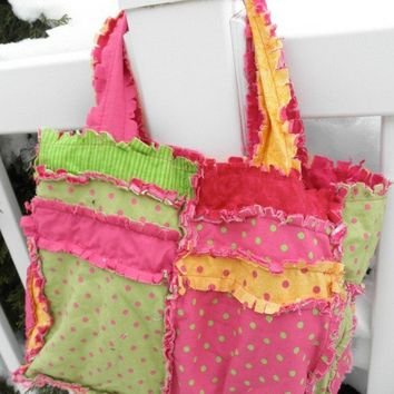 RAG PURSE Diaper Bag Quilted Tote pink yellow by avisiontoremember
