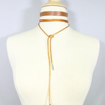 2 piece tan faux leather cord wrap tie choker collar necklace boho