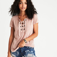 AEO Soft & Sexy Lace-Up T-Shirt, Pink