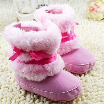 Kids Baby Autumn Winter Warm Shoes Infant Girls Bow Snow Boots Crib Shoes Toddler Fleece Snow Boots