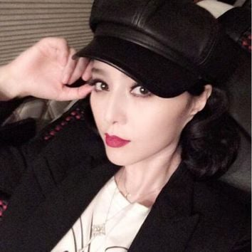 2015 Fall Winter New Fashion Women Solid Color PU Leather Caps Octagonal Cap Casual Vintage Hats Newsboy Cap For Women Casquette