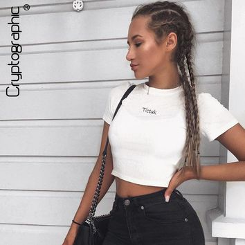 summer white female t-shirt tunic slim short crop top letter embroidery t shirt women tops tees ribbed