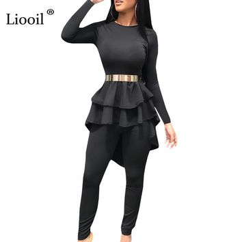 Liooil Sexy 2 Piece Bodycon Jumpsuits For Women Long Sleeve O Neck Asymmetrical Party Ruffle Rompers Womens Jumpsuit