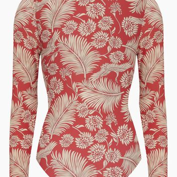 Savanhah Long Sleeve Rashguard Bodysuit - Mahogany Tropical Print