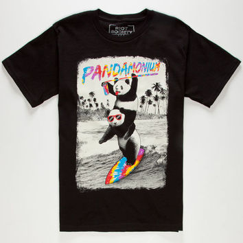 Riot Society Tie Dye Surf Panda Boys T-Shirt Black  In Sizes