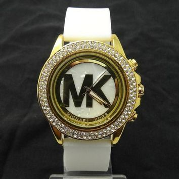 ONETOW MK Michael Kors men and women new stylish fashion candy strap F-SBHY-WSL White Watchband + Hollow Dila + Gold Case